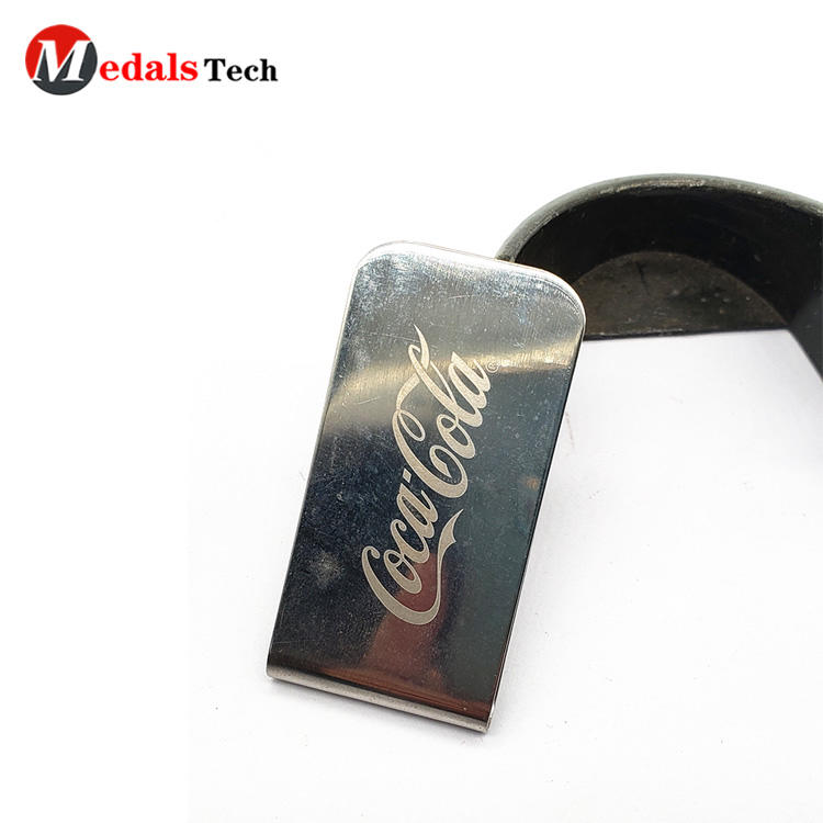 Wholesale custom logo silver plating stainless steel metal money clip for sale