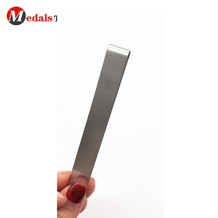 Simple stainless steel promotional custom logo metal money clip