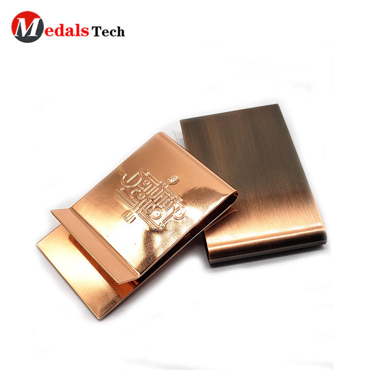 High quality pocket custom shinny bronze plating spring money clip