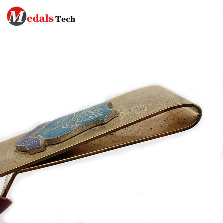 antique gold plating business gift  pocket money clip with emblem