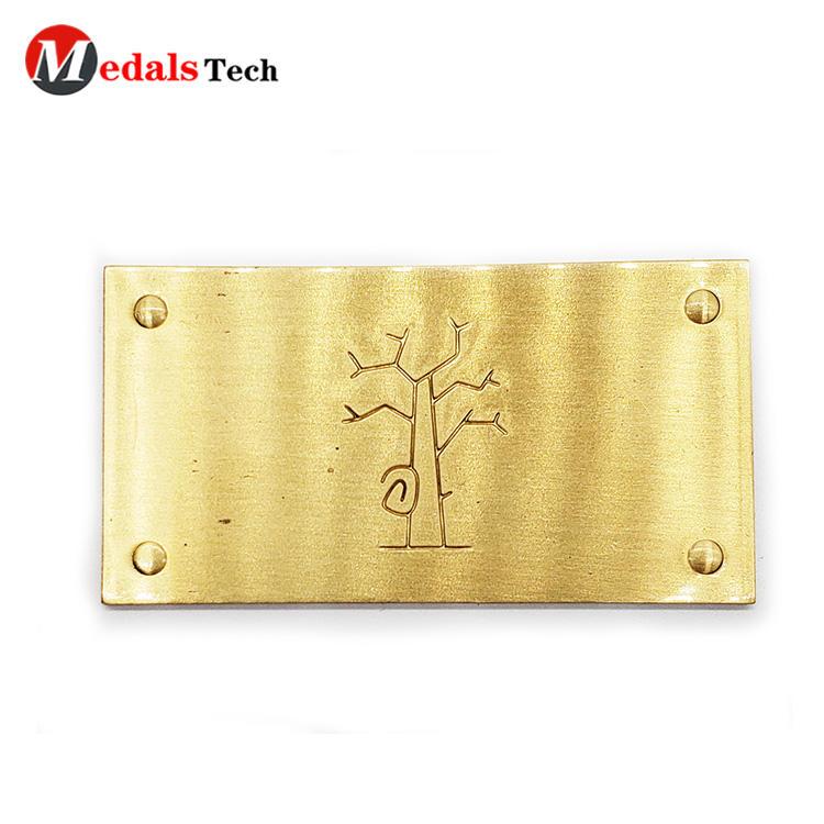 Custom Metal Nameplate Tree Logo Die Casting Flat