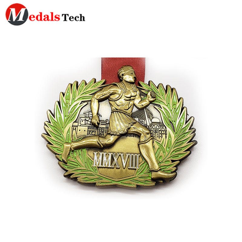 Antique gold custom running sport 3d logo medals with ribbon
