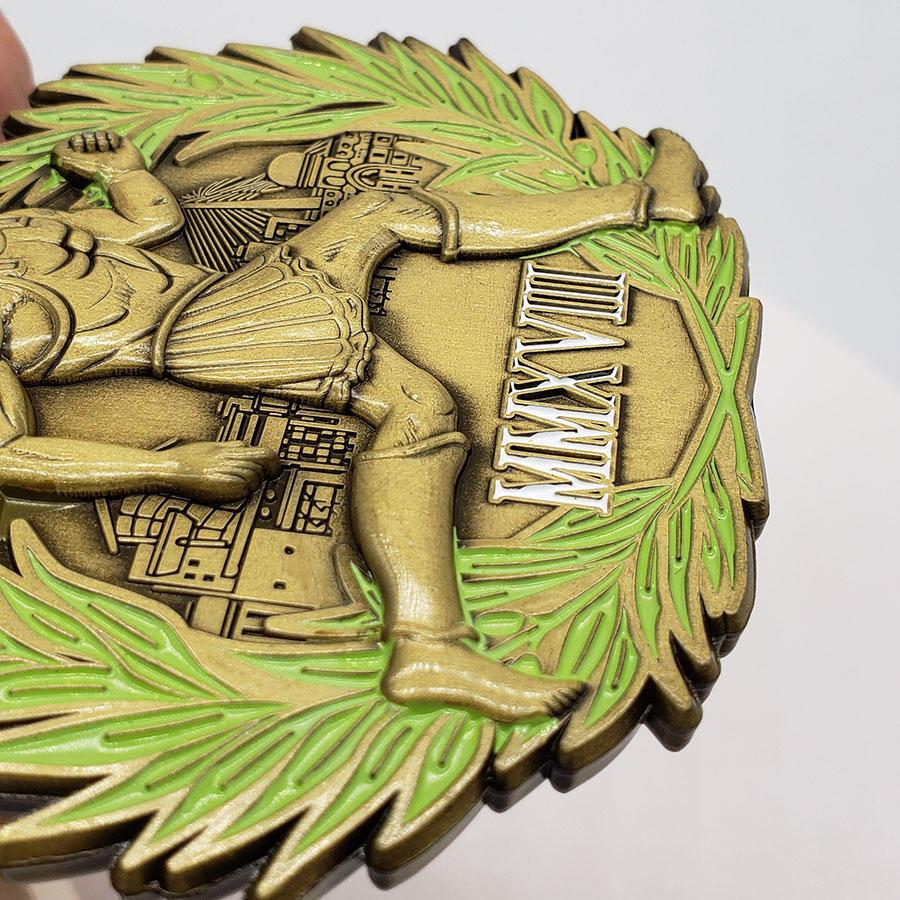 古董金定制跑步运动3d标志奖牌丝带