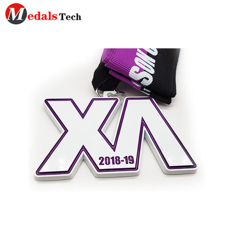 Simple Metal Marathon Medal White Color Filled 3d Letter Logo