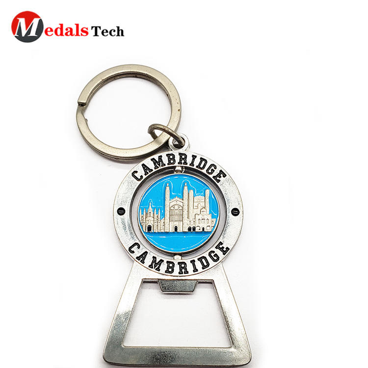 Custom Bottle Openers Mini Metal Keychain with Spinning Badge