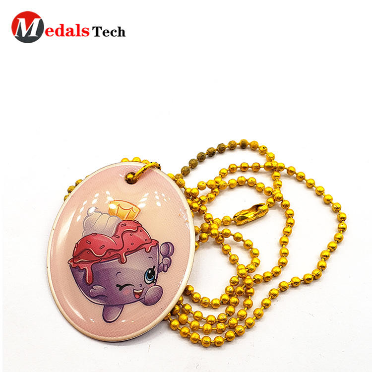 High quality cute aluminum epoxy sticker dog tag with gold ballchain