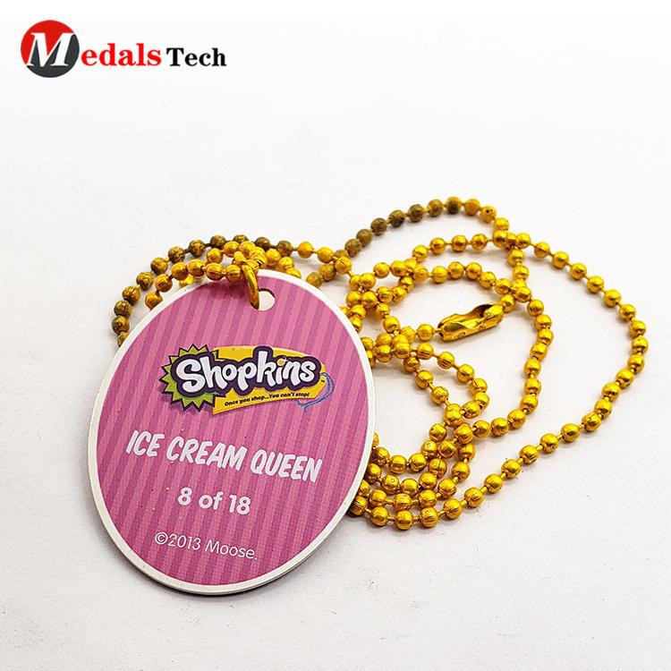 High quality cute aluminum epoxy sticker dog tag with gold ballchain