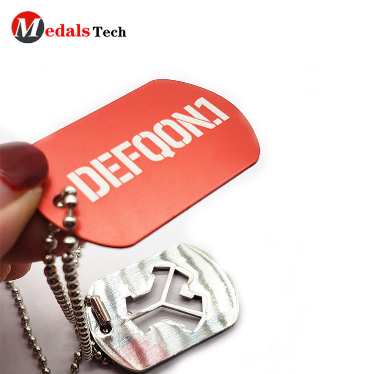 High quality silver plating printed cut out design metal  dog tag