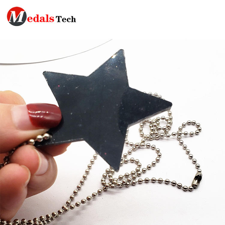 Black plated promotional star shape custom cute dog tag necklace for kids