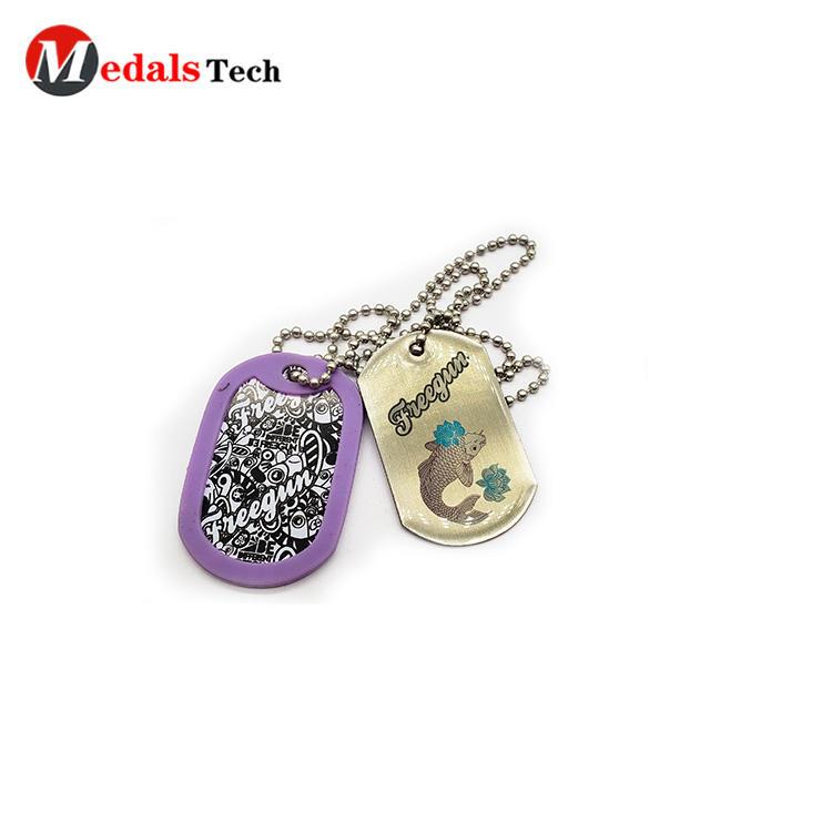 Custom bulk wholesale aluminum necklace dog tag with pvc cover dog tag