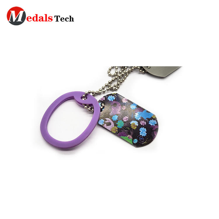 Custom bulk wholesale aluminum necklace dog tag with pvc cover dog tag