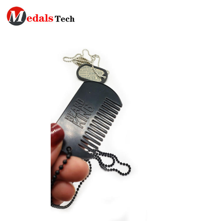Factory price wholesale custom logo metal charm gift dog tag with comb