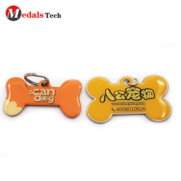 Cheap beautiful bone shape rescue metal dog tag with epoxy cover