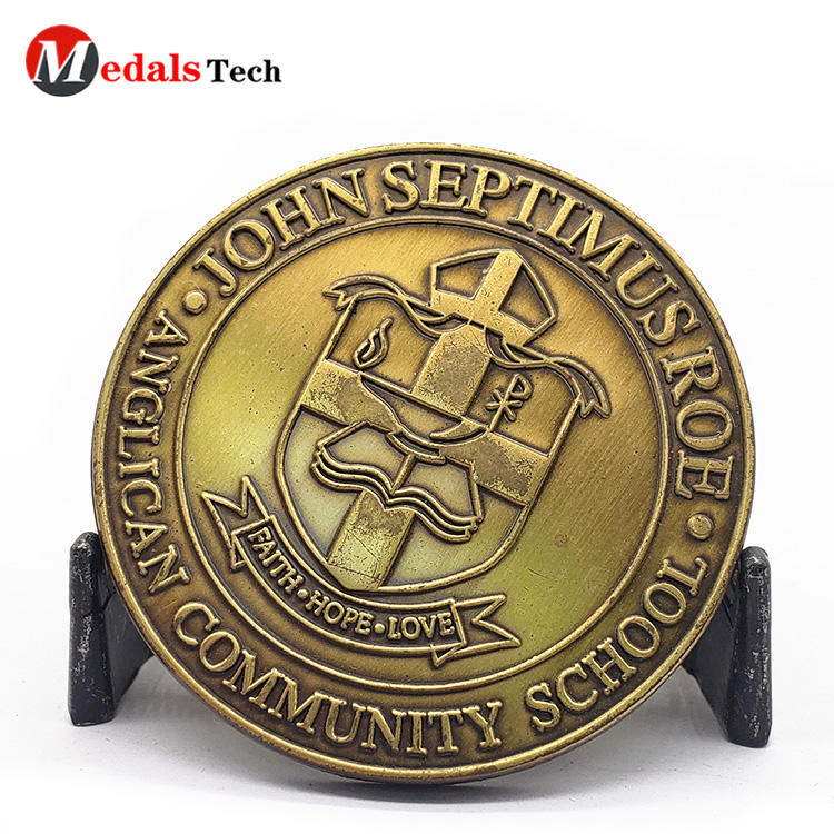 Metal Challenge Coins School Antique Gold Plating Logo