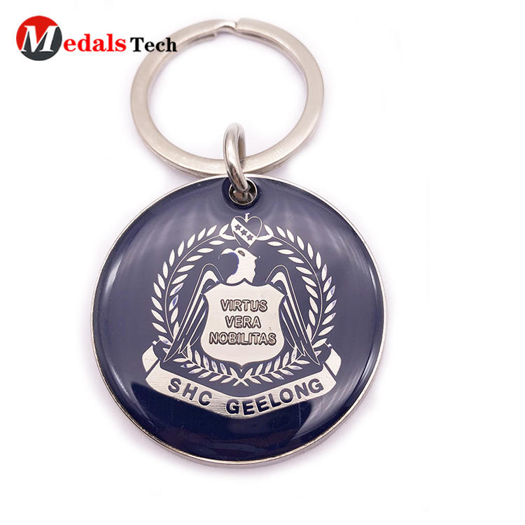Custom Logo Keychains Silver Plating with Epoxy Cover
