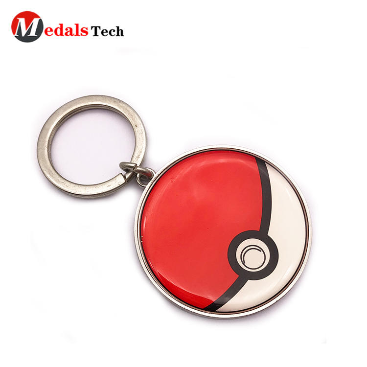 Factory price custom engraved round shape keychain with epoxy sticker