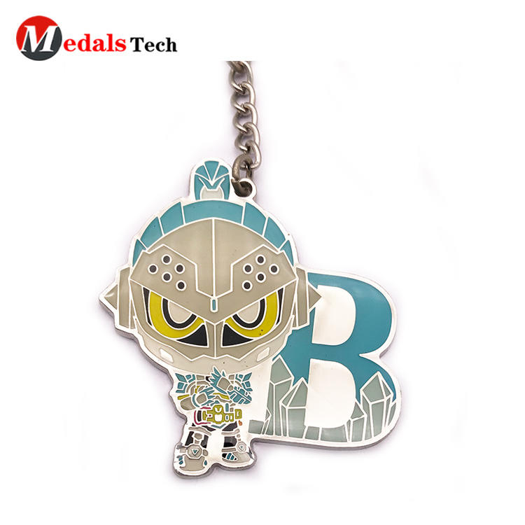 Custom cute color filled silver plating souvenir metal keychain