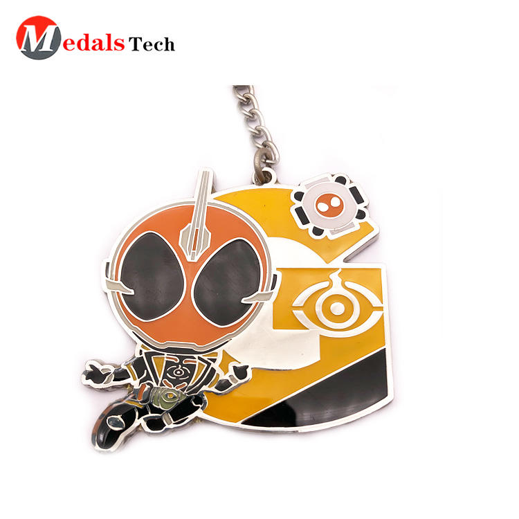 Cheap promotional hard enamel 3d cartoon metal keychain