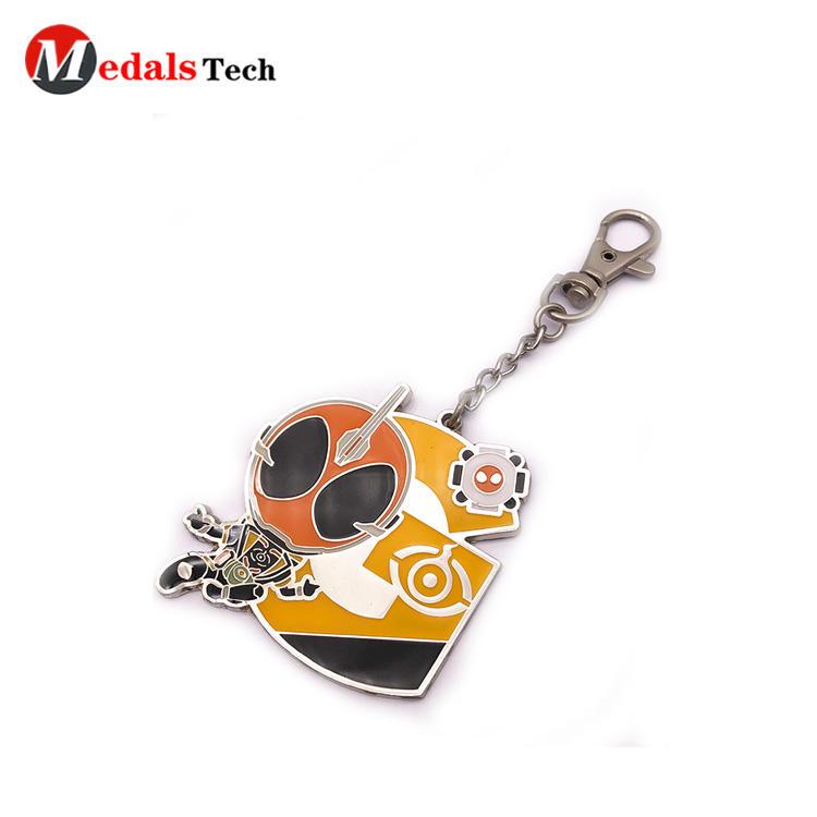 Cheap promotional hard enamel 3d cartoon metal keychain