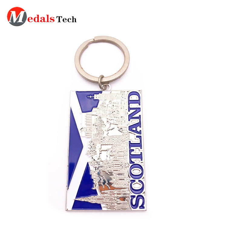Wholesale rectangle 3d logo nameplate keychain with soft enamel