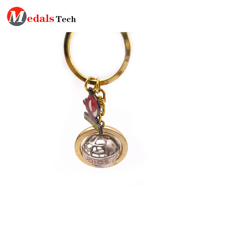 Novelty Metal Globe Keychain Factory Price Creative Hollow Out Spinning
