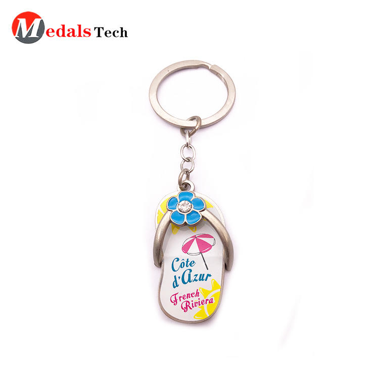 Cheap Custom Keychain Beautiful Gift Metal Beach Shoe Keychain for Kids