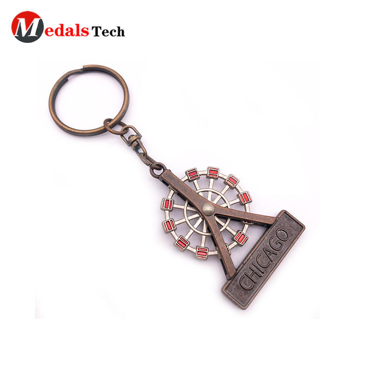 Unique Custom Cool Metal Keychains 3d Ferris Wheel Shape Cut Out Souvenir Keychains