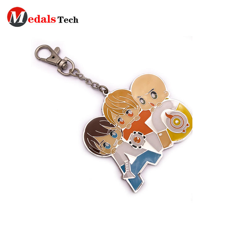 Cheap Metal Keychain Hard Enamel Cartoon Sandblast  with Dog Hook