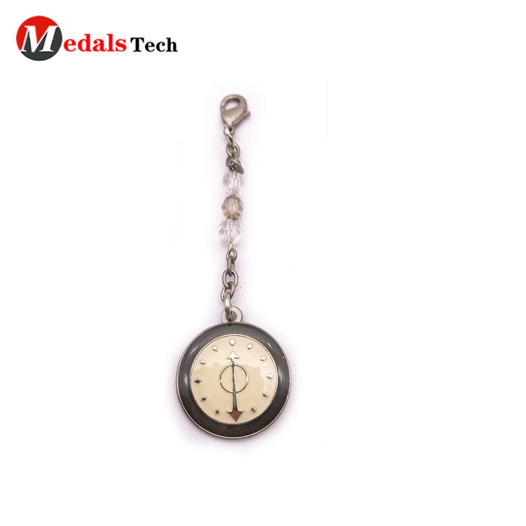 High Quality Metal Clock shape Decorative Keychain with Epoxy Cover