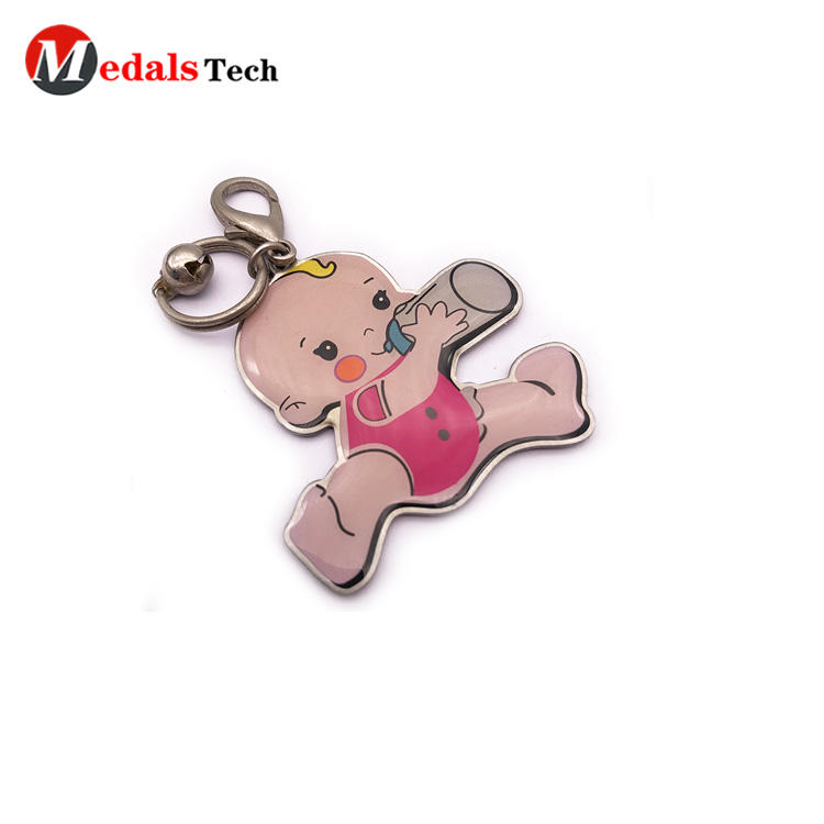 Custom 3d Logo Popular Metal Gift Keychain with Epoxy Sticker