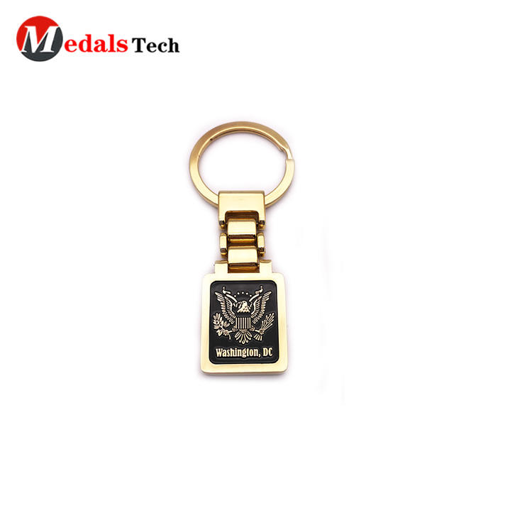 Souvenir Metal Keychain Embossed Logo with Shinny Gold Finish Key Chain Factory Price