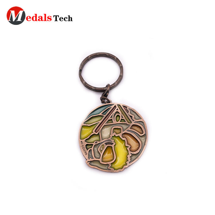 Creative new design antique craft metal keychain with transparent enamel keychain