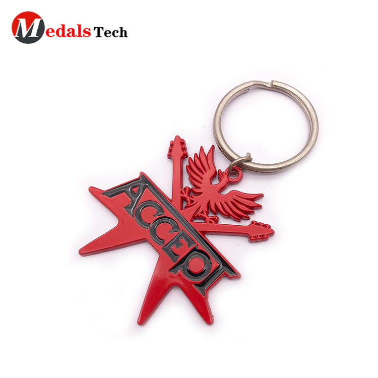 Promotional color filled recessed logo 3d custom metal keychain