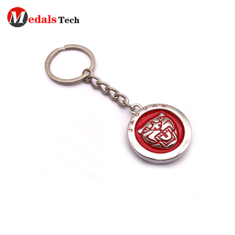 Wholesale round shape zinc alloy silver keychain with embossed logo