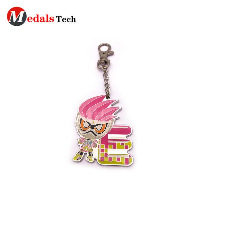 Custom popular shinny silver cartoon hard enamel souvenir keychain