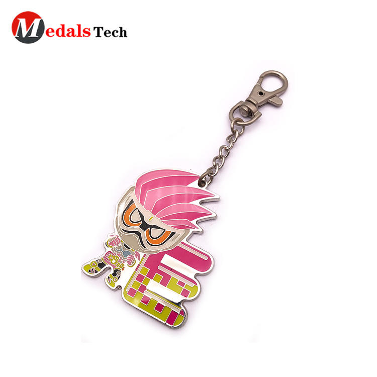 Custom popular shinny silver cartoon hard enamel souvenir keychain