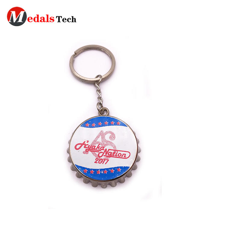 Factory price zinc alloy cap bottle opener keychain with printing logo