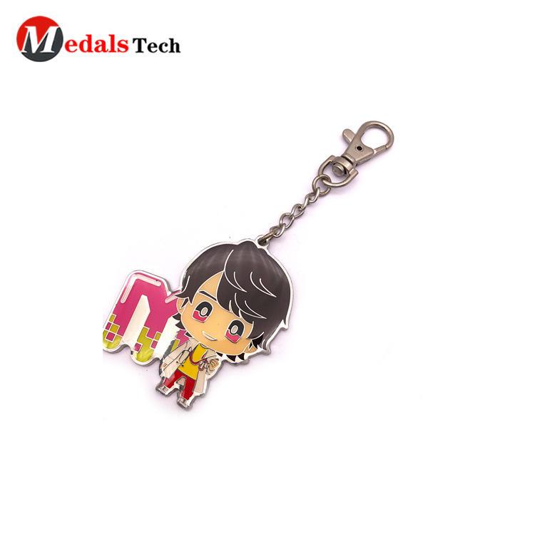 Cheap epoxy anime character dog hook  keychain with sandblast back side finish