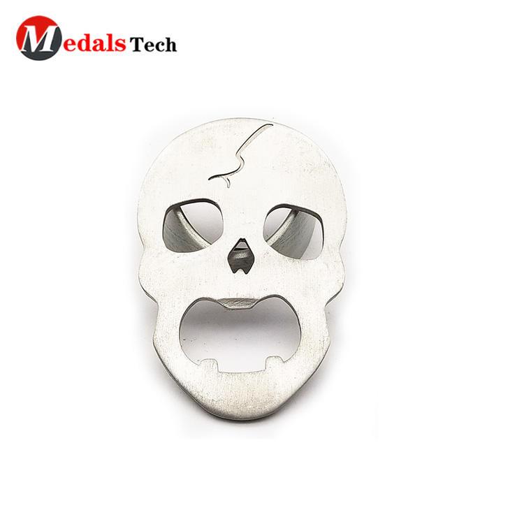 Creative promotional cut out design skull shape aluminum bottle opener