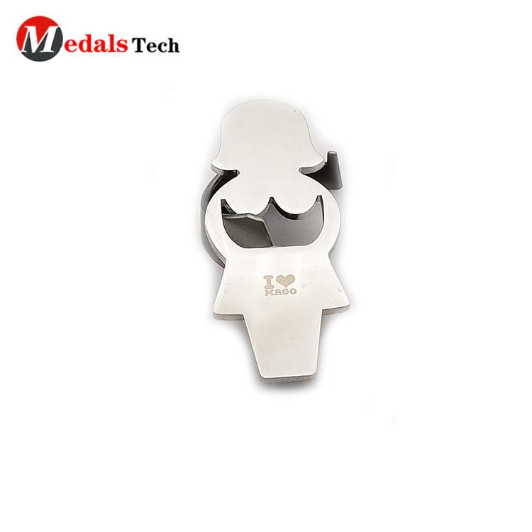 Customized design cute girl shape shinny silver beer bottle opener