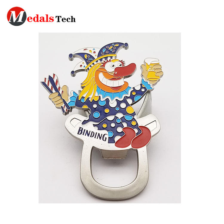 Personalized soft enamel clown metal beer bottle opener with sandblast backside