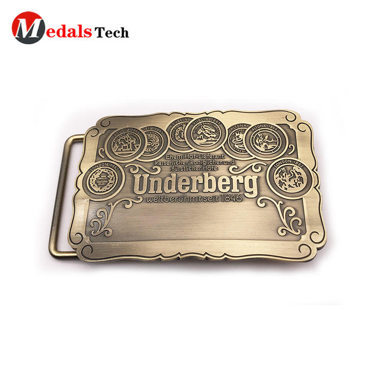 Wholesale custom logo antique gold metal belt buckles for man