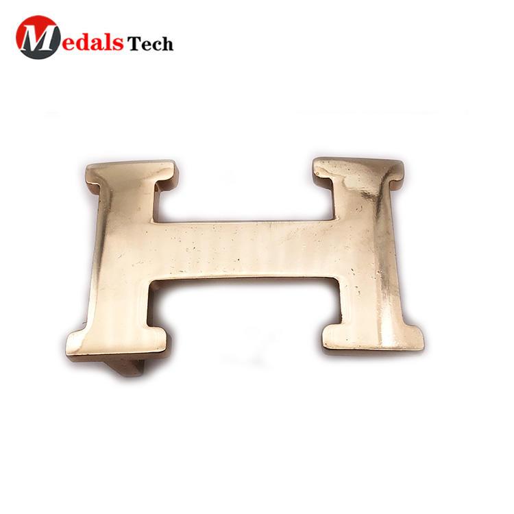 High quality letter shape gold die casting bag  belt buckles