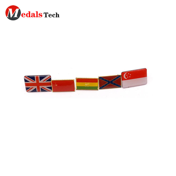 High quality custom national flag lapel pin with epoxy sticker