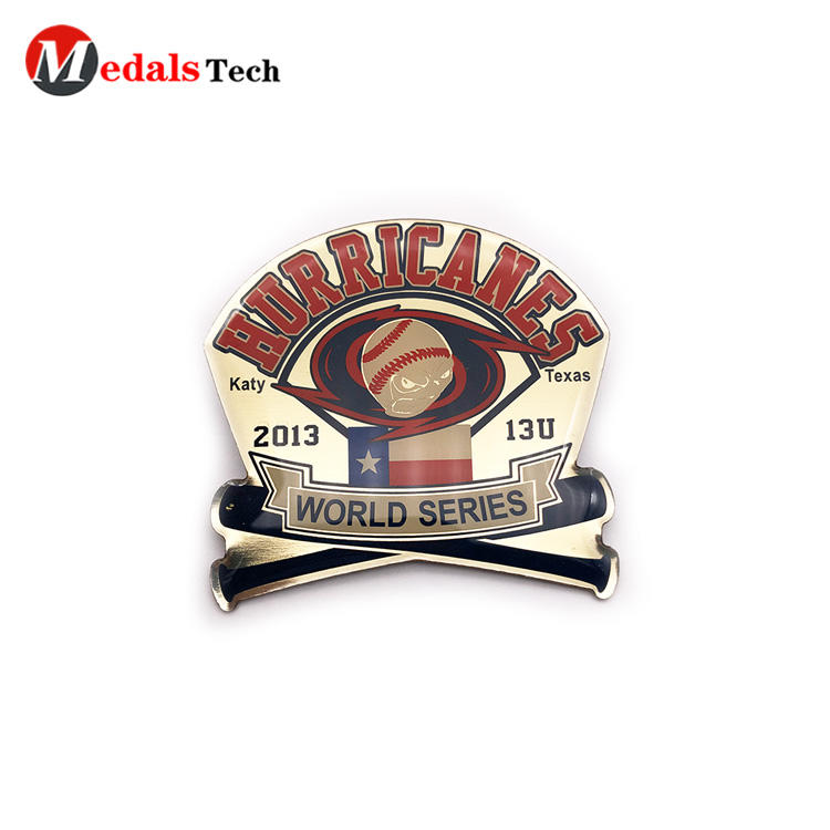 Factory price epoxy sticker sport souvenir aluminum lapel pin