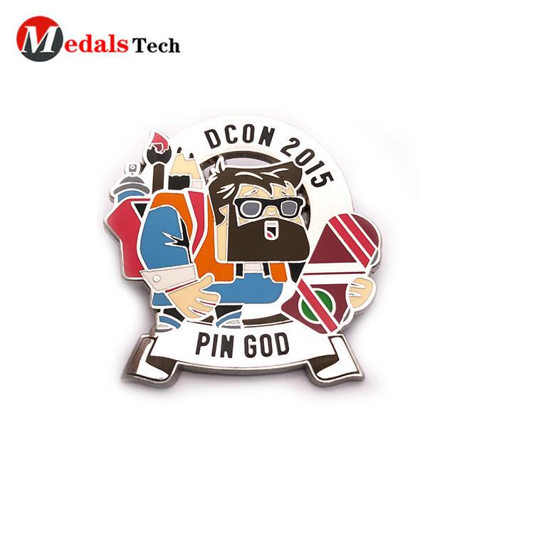 No minimum order shinny silver color filled lapel pin with sandblast backside