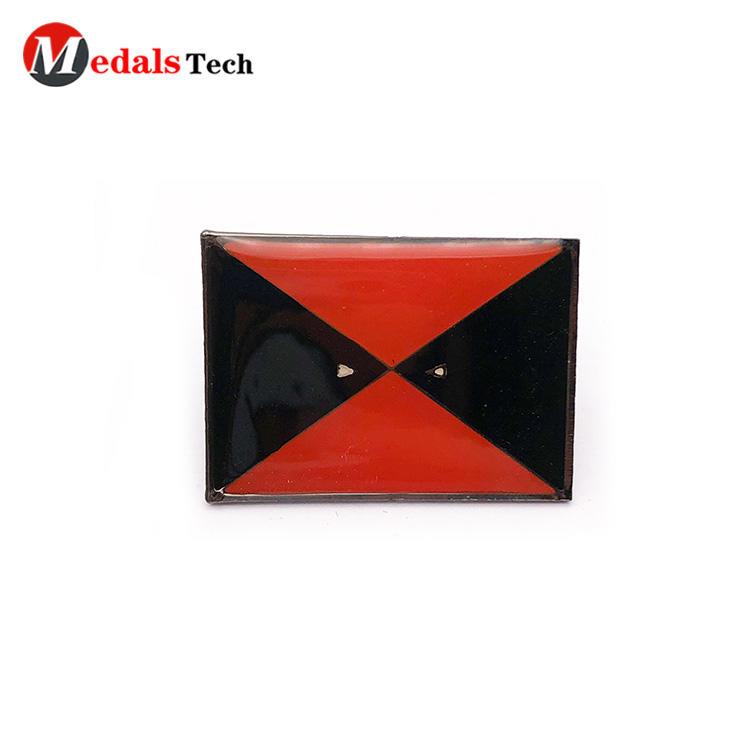 Wholesale square shape antique plating clothes lapel pin for epoxy sticker