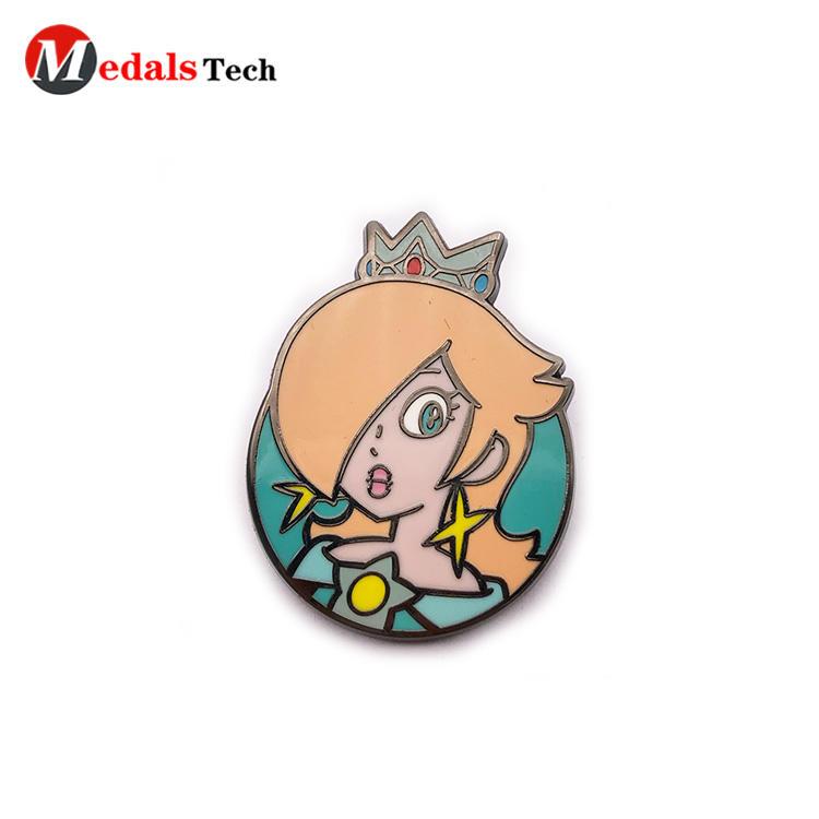 Customize beautiful girl shape black plating zinc alloy gift lapel pin