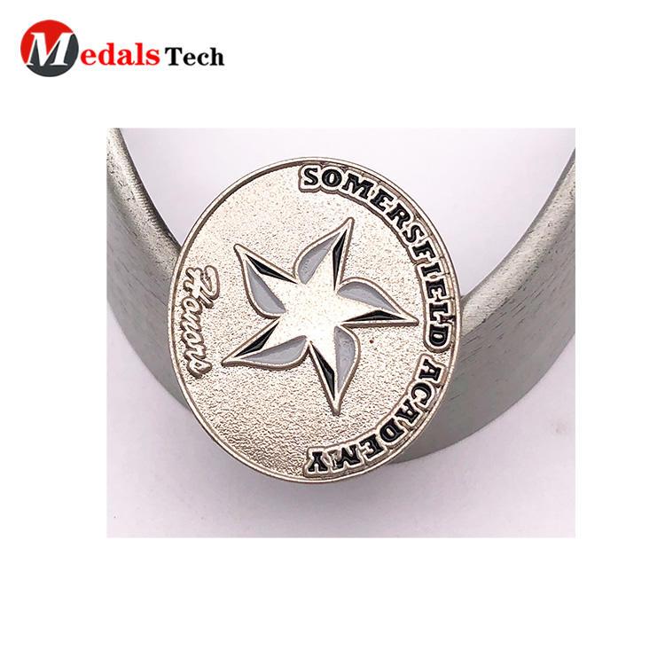 Custom owner design sandblast effect pin badge with soft enamel