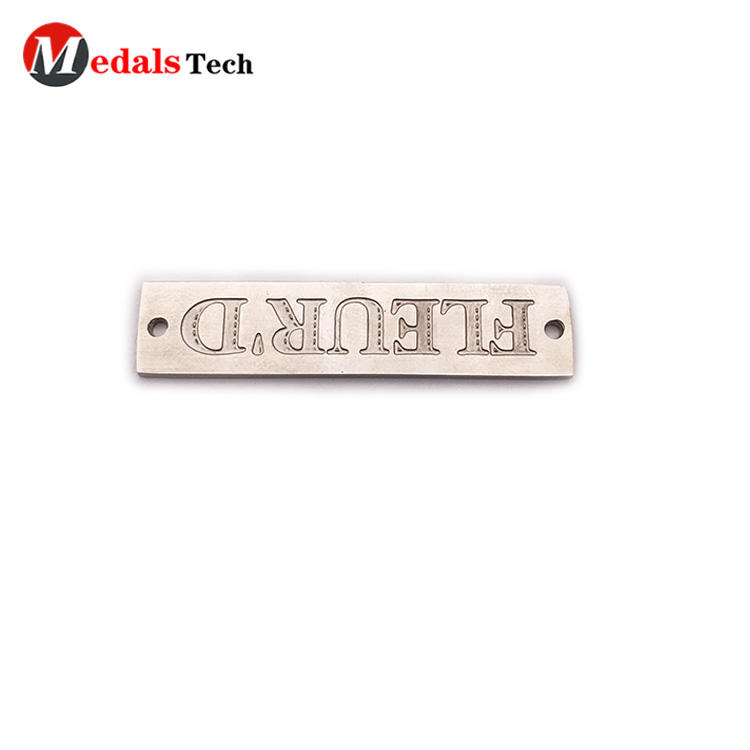 Chinese factory engraved logo mini stainless steel  metal plate for bag